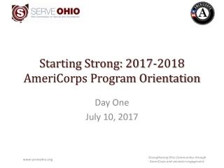 Starting Strong: 2017-2018 AmeriCorps Program Orientation