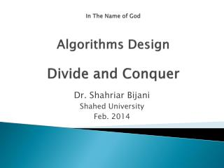 In The Name of God Algorithms Design Divide and Conquer