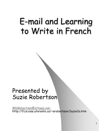 E-mail and Learning to Write in French