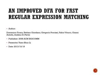 An Improved DFA for Fast Regular Expression Matching