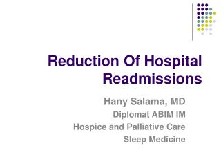 Reduction Of Hospital Readmissions