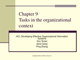 Chapter 9  Tasks in the organizational context