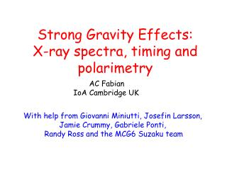 Strong Gravity Effects: X-ray spectra, timing and polarimetry