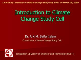 Introduction to Climate Change Study Cell