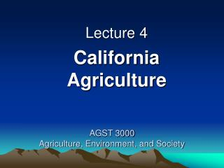 AGST 3000 Agriculture, Environment, and Society