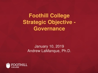 Foothill College Strategic Objective - Governance