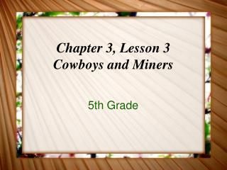 Chapter 3, Lesson 3 Cowboys and Miners