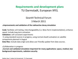 Requirements and development plans  TU Darmstadt, European XFEL