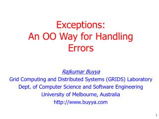 Exceptions:  An OO Way for  Handling Errors