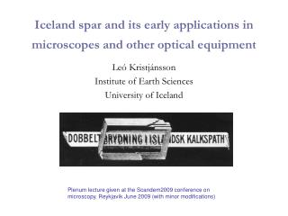 Iceland spar and its early applications in microscopes and other optical equipment