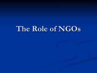 The Role of NGOs
