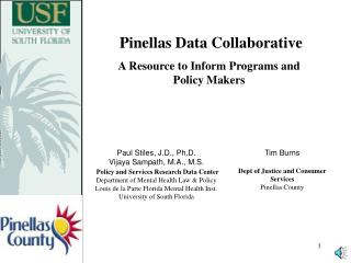 Pinellas Data Collaborative A Resource to Inform Programs and Policy Makers