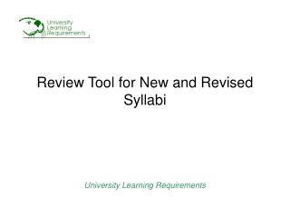 Review Tool for New and Revised Syllabi