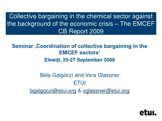 Seminar 'Coordination of collective bargaining in the EMCEF sectors' Elewijt, 25-27 September 2009