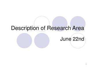 Description of Research Area