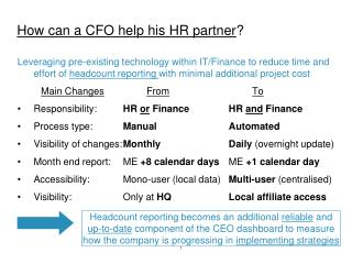How can a CFO help his HR partner ?
