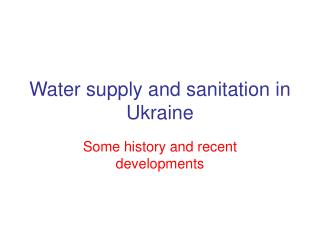 Water supply and sanitation in Ukraine