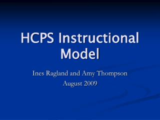 HCPS Instructional Model