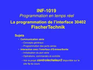La programmation de l'interface 30402 FischerTechnik