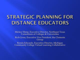 Strategic Planning for Distance Educators