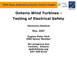 IEEE Power Engineering Society Toronto Chapter