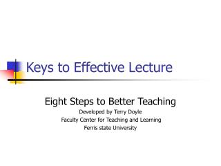 Keys to Effective Lecture