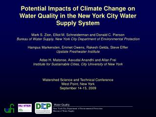Potential Impacts of Climate Change on Water Quality in the New York City Water Supply System