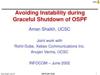 Avoiding Instability during Graceful Shutdown of OSPF