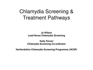 Chlamydia Screening & Treatment Pathways