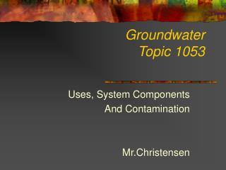 Groundwater  Topic 1053