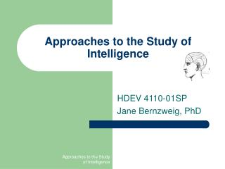 Approaches to the Study of Intelligence