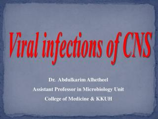 Viral infections of CNS