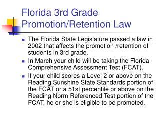Florida 3rd Grade Promotion/Retention Law