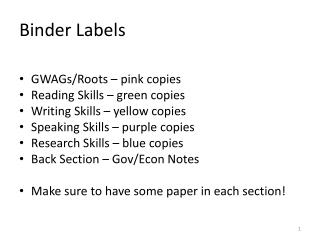 Binder Labels
