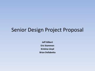 Senior Design Project Proposal