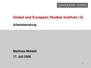 Global and European Studies Institute i.G.