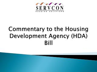 Commentary to the Housing Development Agency (HDA) Bill