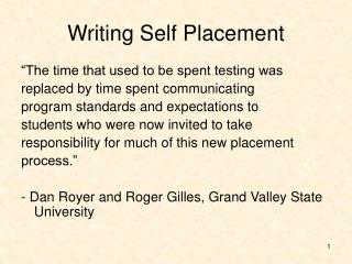 Writing Self Placement