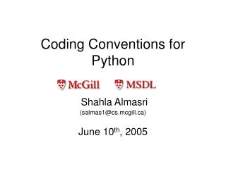 Coding Conventions for Python
