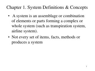 Chapter 1. System Definitions & Concepts