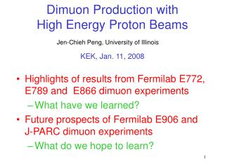 Dimuon Production with      High Energy Proton Beams