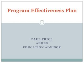 Program Effectiveness Plan