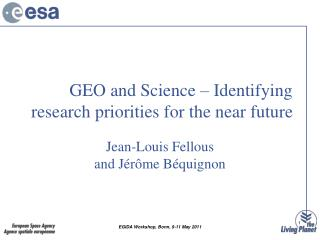 GEO and Science –  Identifying research priorities for the near future