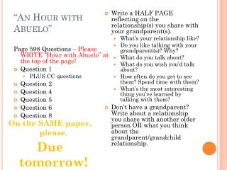 """An Hour with  Abuelo """