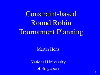 Constraint-based Round Robin Tournament Planning