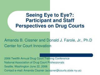 Seeing Eye to Eye?: Participant and Staff Perspectives on Drug Courts