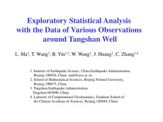 Exploratory  Statistical Analysis  with the Data of  Various  Observations around Tangshan  Well