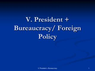 V. President +  Bureaucracy/ Foreign Policy