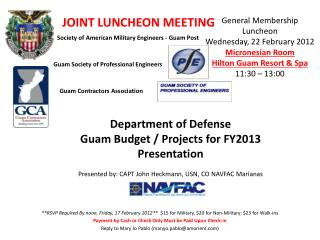 Department of Defense Guam Budget / Projects for FY2013  Presentation