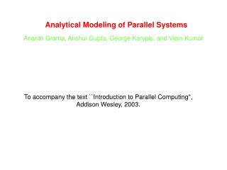 Analytical Modeling of Parallel Systems